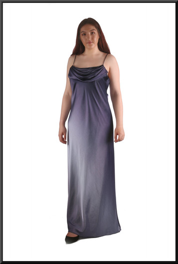 """Velvet effect full length slightly iridescent 1920's style evening dress, blue, size 12, model height 5'7"""""""