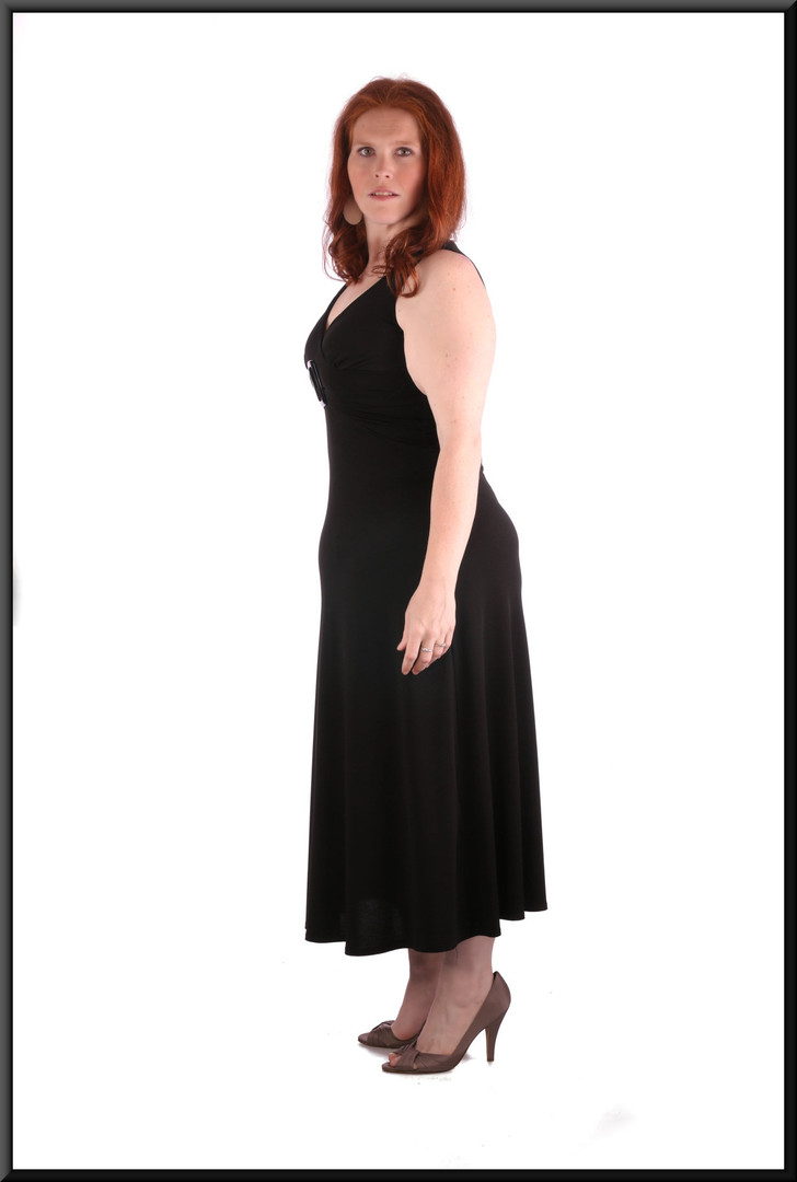 Mid calf length cocktail dress with decorated belt effect, black, (marked US 10), size 14. model height 5'7""