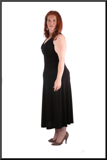 """Mid calf length cocktail dress with decorated belt effect, black, (marked US 10), size 14. model height 5'7"""""""