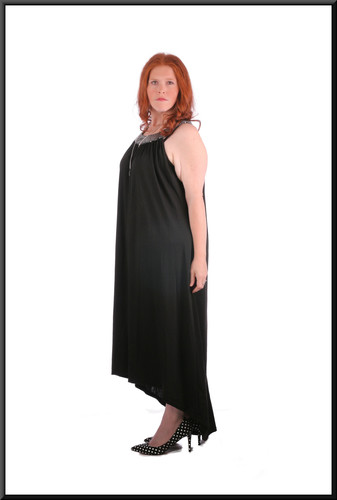 Size 22 Cotton maxi-dress with embroidered neckline and variable length hemline - black - black