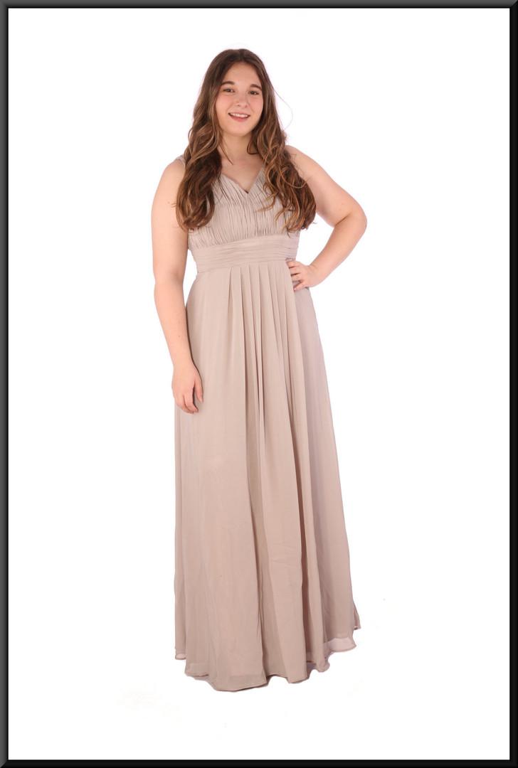 "Full length chiffon over satinette evening dress - grey, size 14. Model height 5'7"""