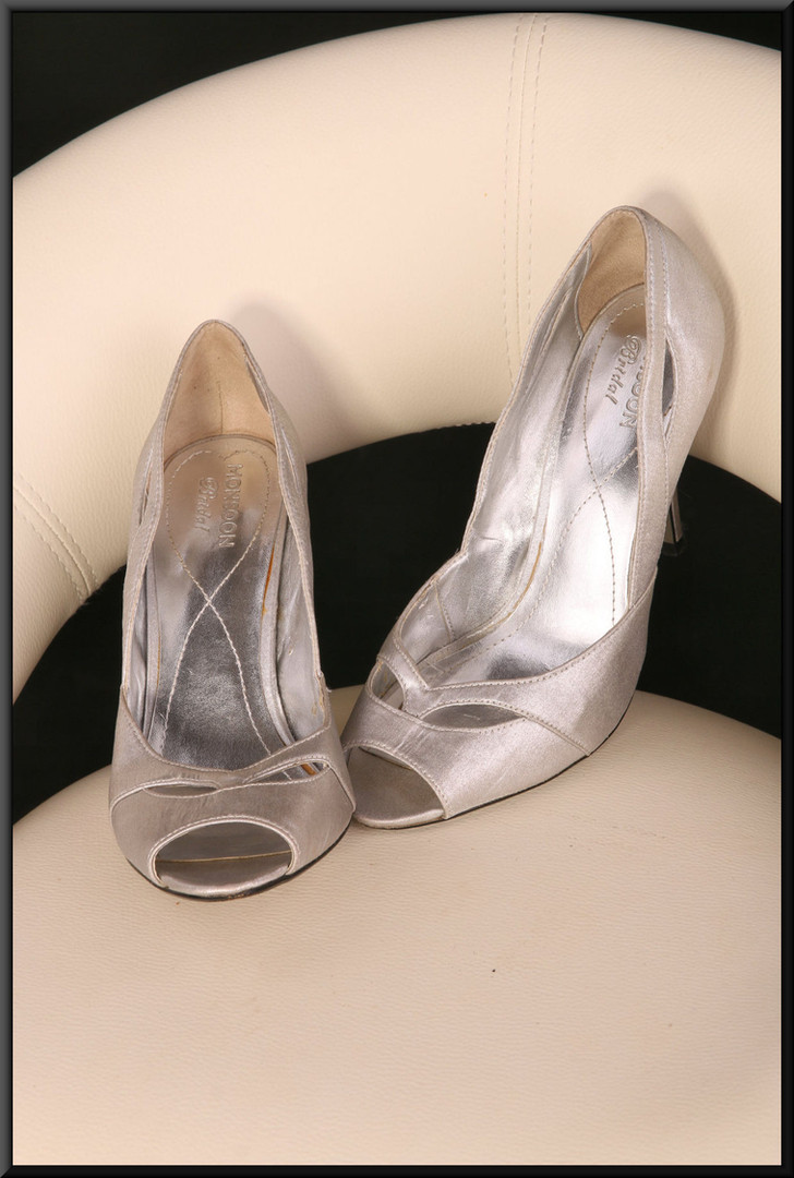 Ladies' silver bridal shoes marked EU 38 size 5 by Monsoon