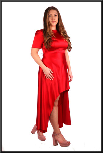 Variable length satin-effect cocktail dress in dark scarlet.  Model height 5'4""