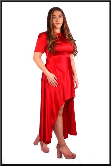 "Variable length satin-effect cocktail dress in dark scarlet.  Model height 5'4"""
