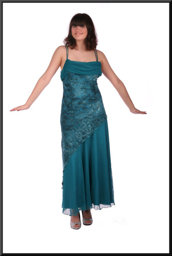 Size 10 / 12 ankle length patterned net over polyester slimline long skirt, teal.  Tiara available separately.