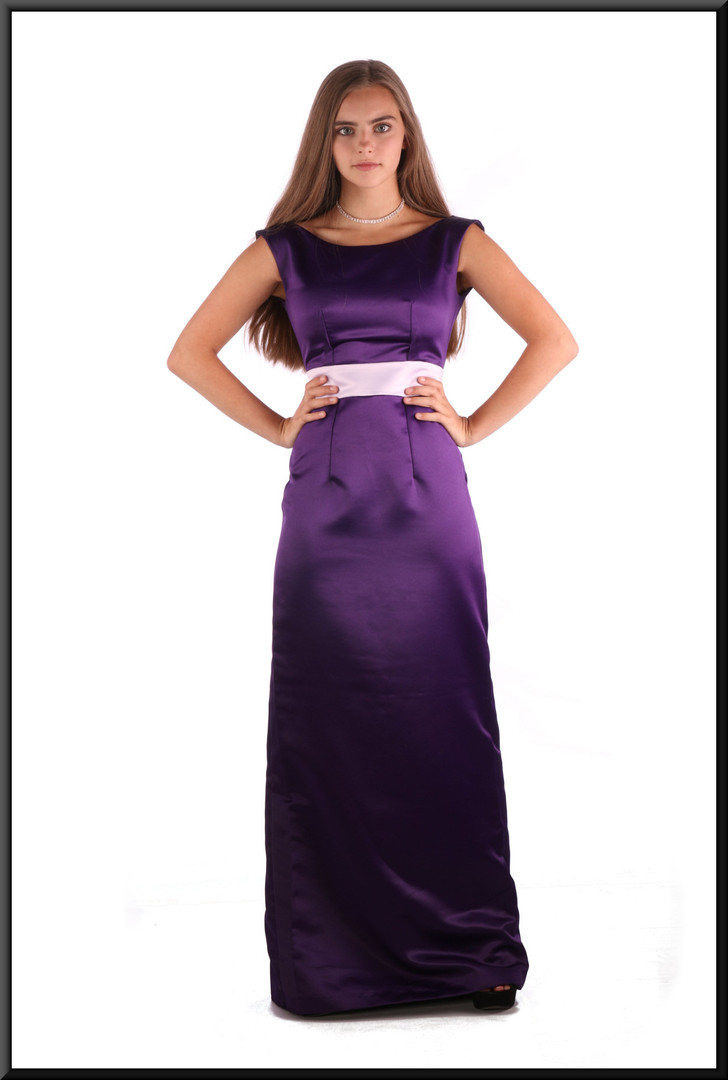 """Satinette slimline evening dress, mauve with pink midriff, size 4 / 6, model height 5'2"""""""