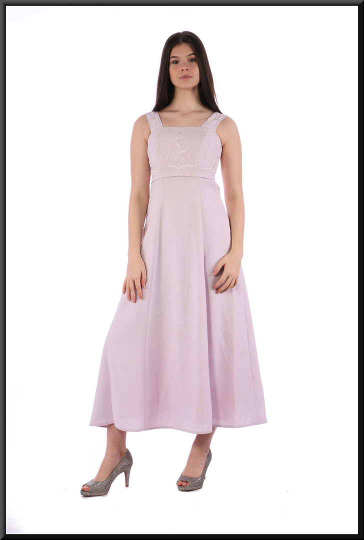 Ankle length 100% polyester dress - pale pink