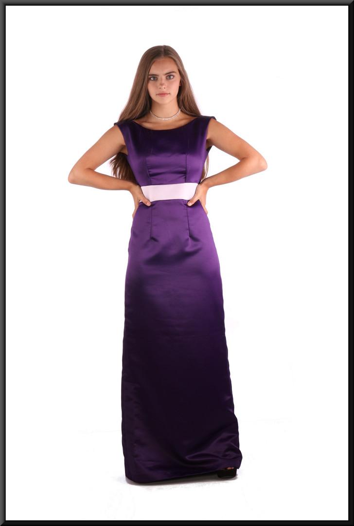 Satinette slimline evening dress, mauve with pink midriff, size 4 / 6
