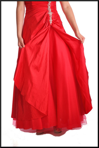"""Multi-layered full length strapless evening gown c/w diamanté embellished bodice & net under-skirt, red, size 12, model height 5'10"""""""