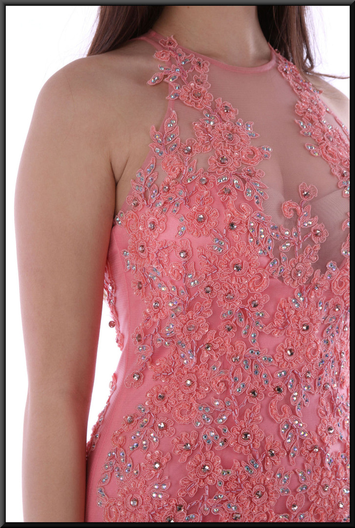"""Full length slim fit dress with diamanté and net bodice and flared multi-layer net skirt, size 8 in salmon pink Model height 5'10"""""""