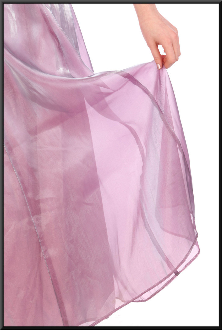 """Iridescent calf length nylon / polyester mix chiffon over satinette cocktail dress, size 6. Model height 5'7"""""""