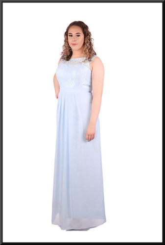 Silk-effect full-length dress with lace effect detail on straps / upper bodice - very light blue