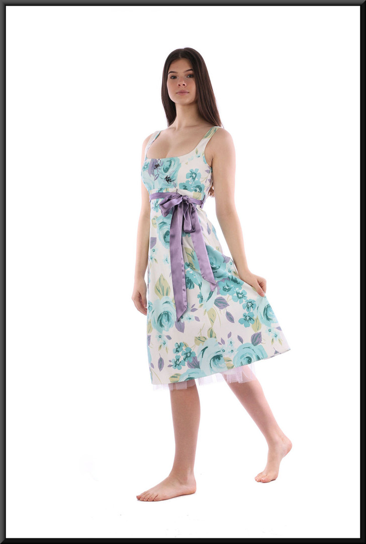 Cotton summer party dress, purple bow, net underskirt - white and light blue
