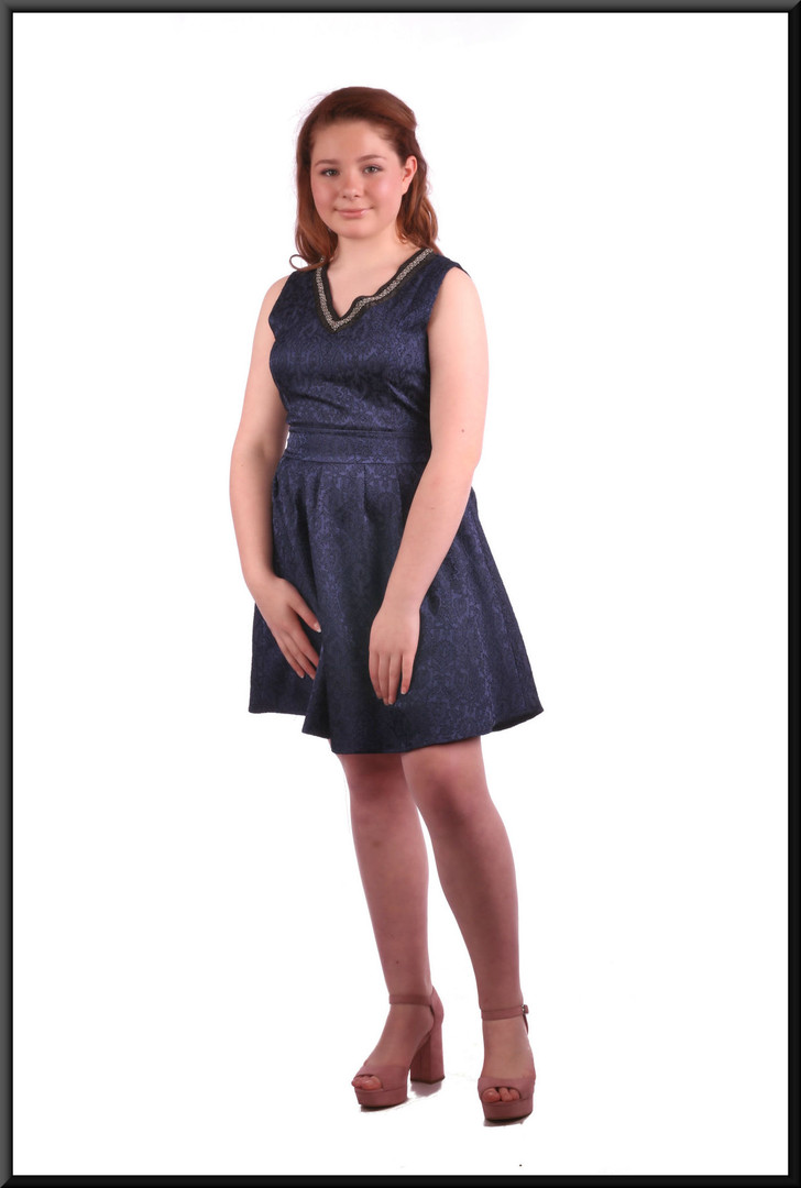 """Layered mini dress with lacy stitching patterned bodice - navy blue. Model height 5'4"""""""