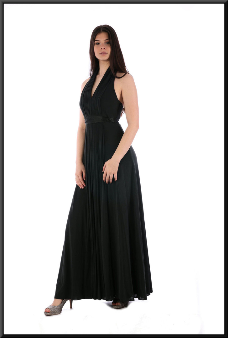 Full length classic evening dress with full skirt in chiffon-like blend with silk tie - very dark greenish grey
