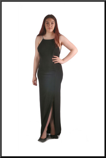 """Full length split side evening dress with diamanté straps and plunging back, black,, size 14, model height 5'7"""""""