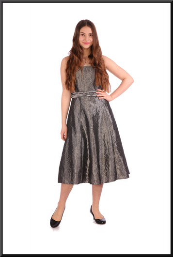"""Crushed velvet effect strapless cocktail dress (also available in size 14) - silver, size 10. Model height 5'5"""". Matching shrug available."""