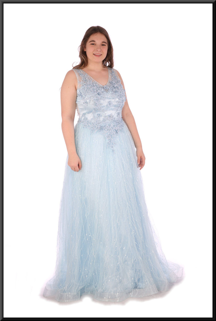 Fairy queen full evening dress chiffon over satinette with embellishment throughout - powder blue, size 14.  Model height 5'7""