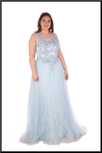 """Fairy queen full evening dress chiffon over satinette with embellishment throughout - powder blue, size 14. Model height 5'7"""""""