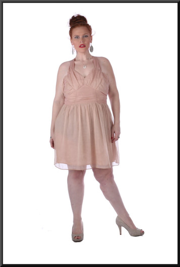 Size 20/24 Knee length halter kneck dress, zip side, ruched bodice, satin underskirt - pink with gold thread
