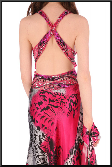 """Party dress full length with cross straps rear & sequinned / embellished bodice - black, white & fuchsia, size 10. Model height 5'7"""""""