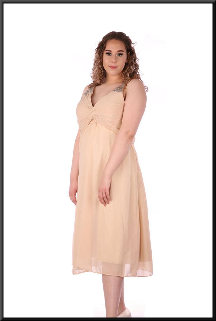 Calf length cocktail dress voile over satinette full skirt - ivory