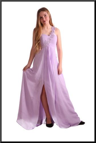 Long polyester chiffon evening dress c/w padded bodice single strap - lilac