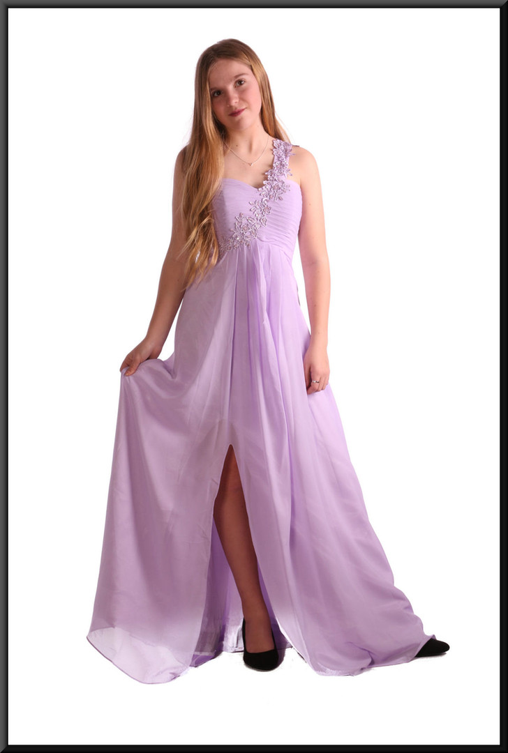 """Long polyester chiffon evening dress with satin underskirt c/w padded bodice single strap, size 8 in lilac. Model height 5'5"""""""