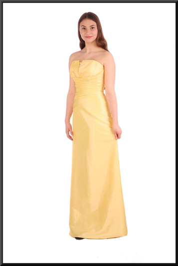 """Full length strapless evening dress with corset tie - lemon yellow, size 10 / 12; model height 5'5"""""""