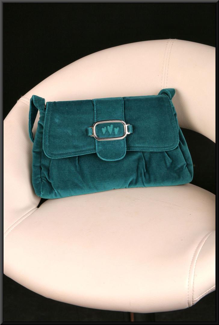 Dark sea green felt effect handbag