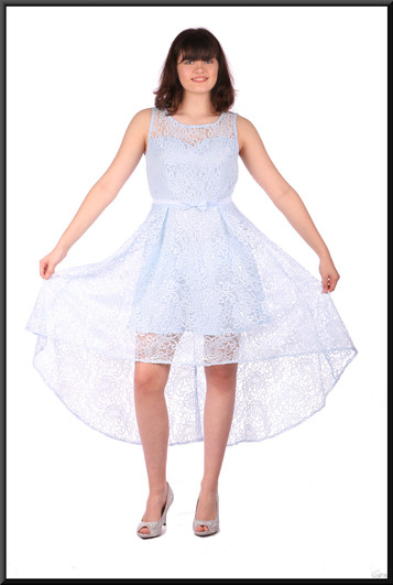 """Net variable length cocktail / party dress over satin mini skirt - pale blue, size 10 / 12. Model height 5'10"""""""