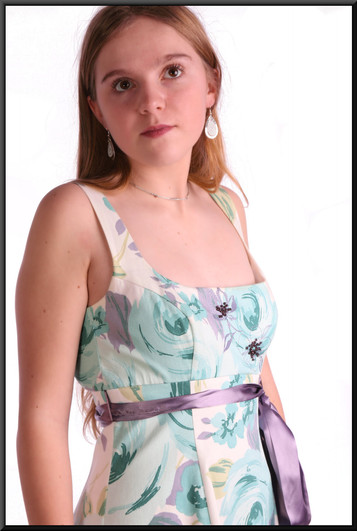 """Cotton summer party dress, purple bow, net underskirt, size 8 in light blue and white. Model height 5'5"""""""