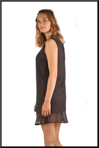"""Twenties style micro dress with very short skirt and net beaded mini over-skirt, charcoal, size 10, model height 5'10"""""""