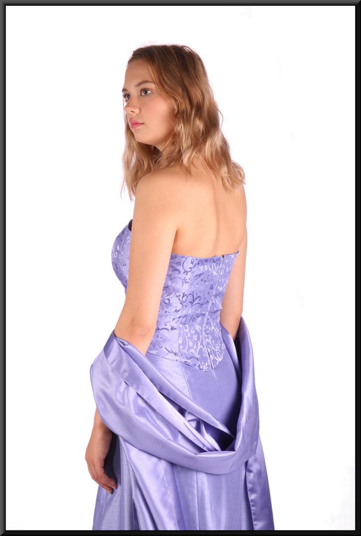 "Two piece top and skirt:silk print effect strapless bodice & satinette slimline full-length skirt, dark lilac, size 8 / 10, model height 5'10"""