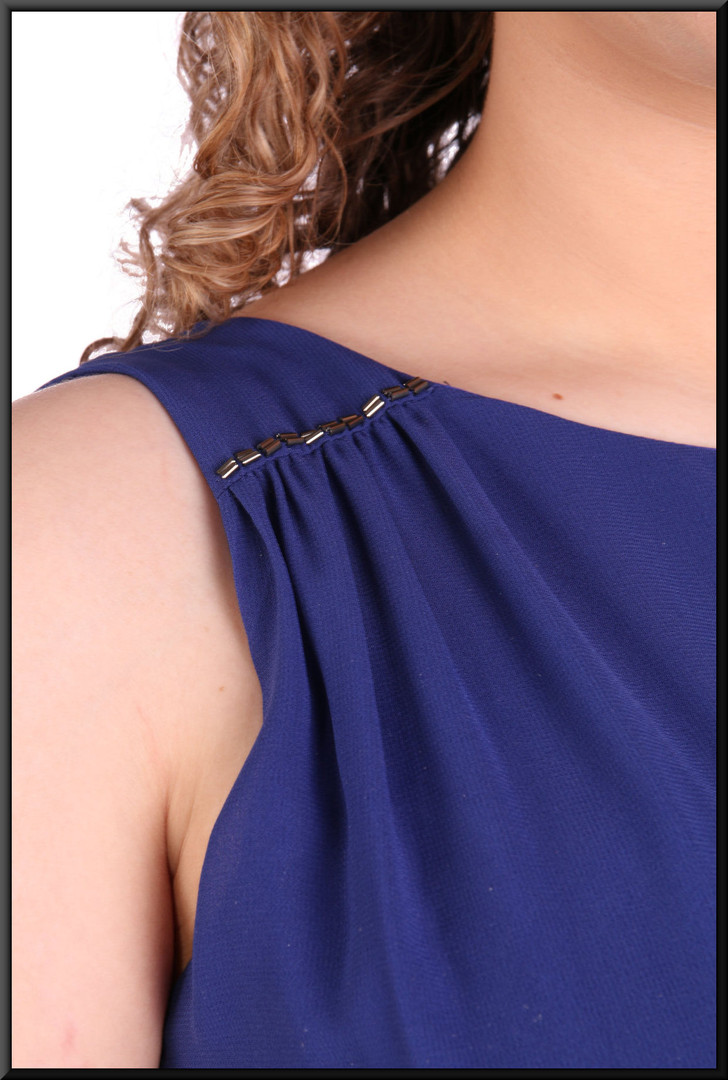 Greek goddess style ankle length voile over satinette mini dress 100% polyester, size 12 in royal blue.  Model height 5'7""