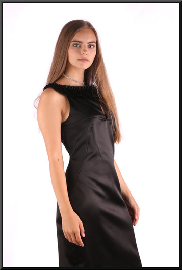 """Satinette mini cocktail dress with ruffle-style collar line, black, size 4 (Ted Baker's own sizing 2), model height 5'2"""""""