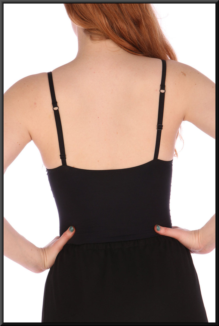 Camisole top - black, size 10 - pairs with either skirt cat nos 206 or 207; model height 5'6""