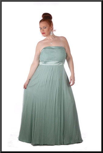 Size 20/24 Ruched boob-tube with two straps, net / silk skirt full length - light turquoise