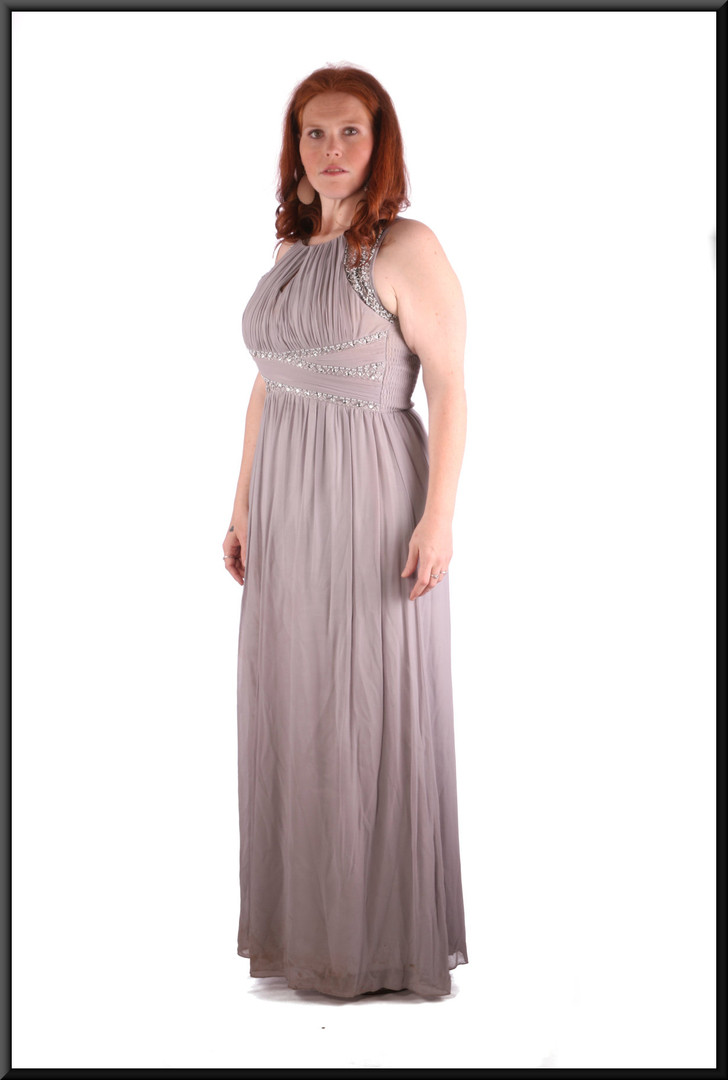 """Ankle length evening / party dress chiffon over polyester with rear ruched bodice, silvery-grey, size 14 /16 (EU 42), model height 5'7"""""""