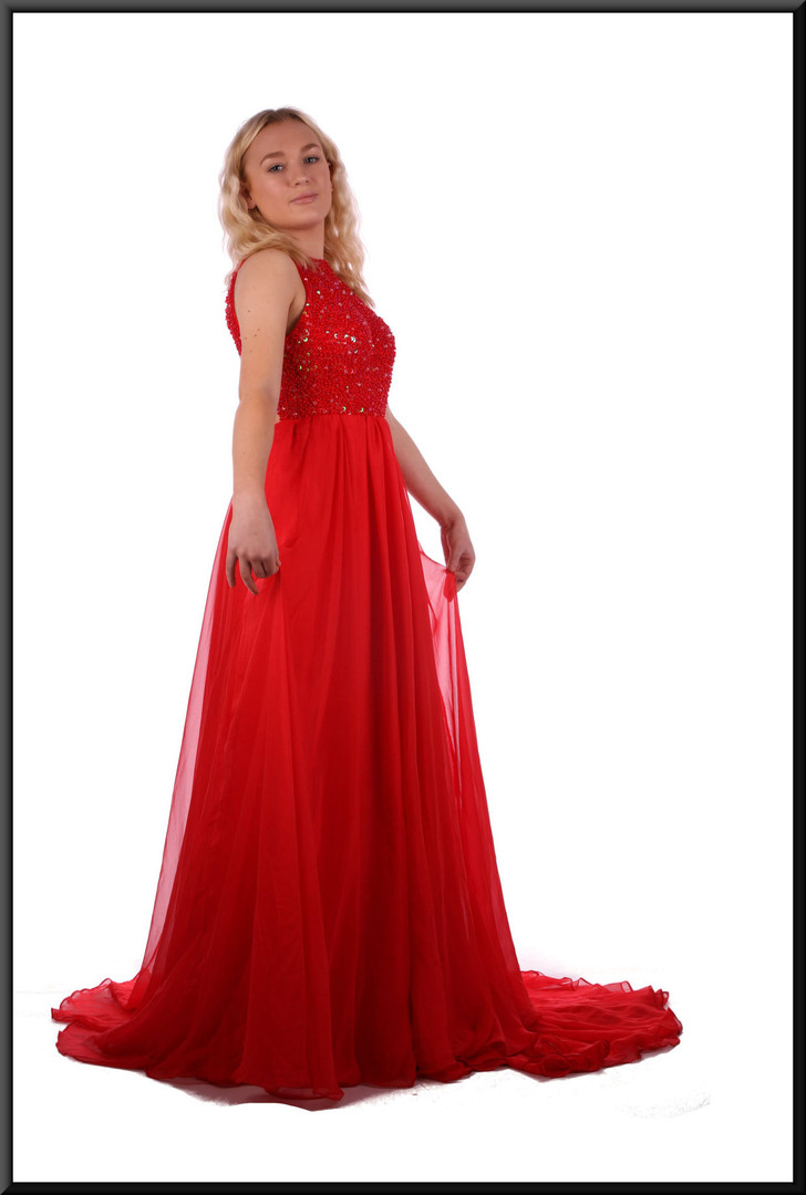 Double layer voile dress with very long skirt and embellished sequinned bodice - red