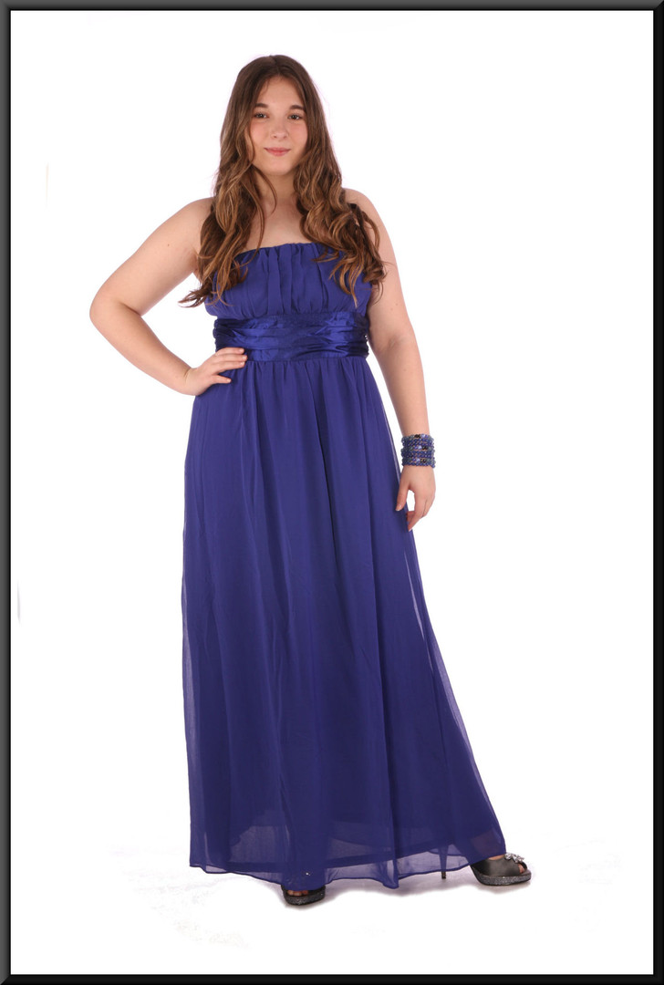 """Strapless ankle length evening dress chiffon over satinette - royal blue, size 14, accessories available; model height 5'7"""""""