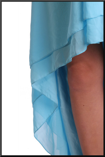 Strapless polyester chiffon double layer - mid blue