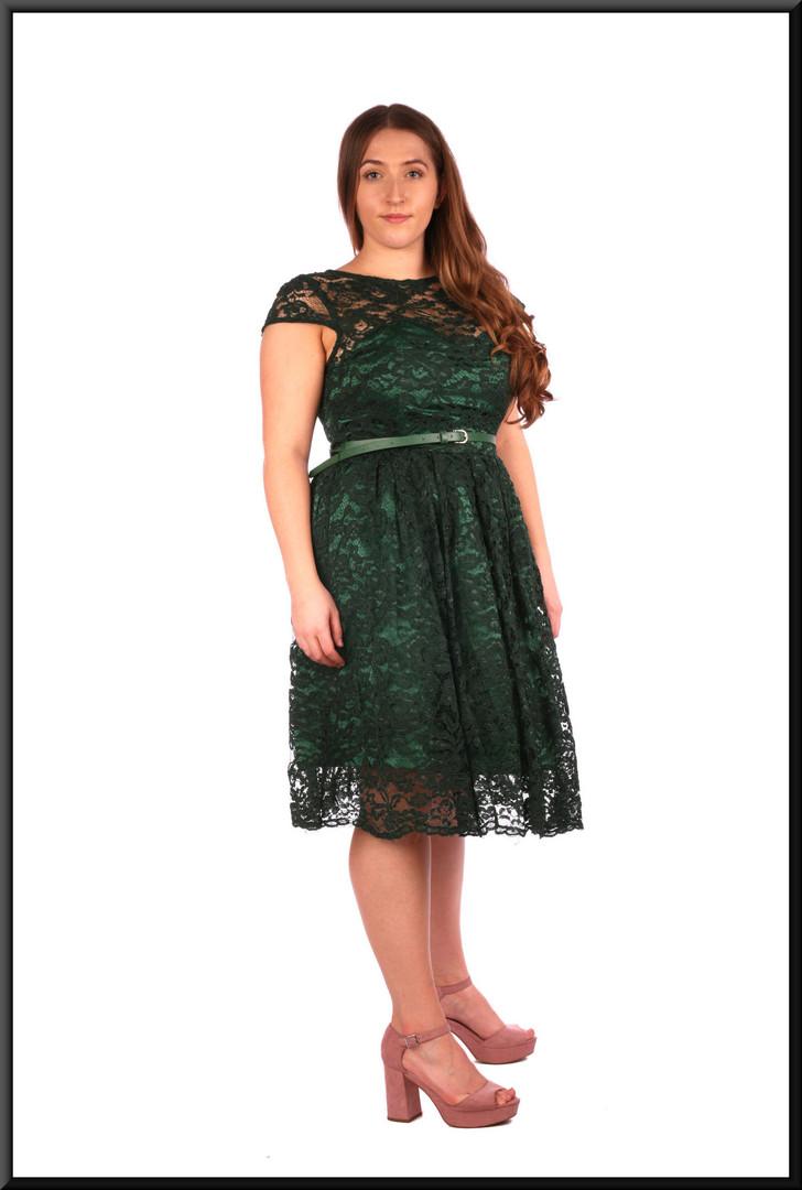 """Sequinned calf length cocktail dress net over satin in bottle green.  Model height 5'4"""""""