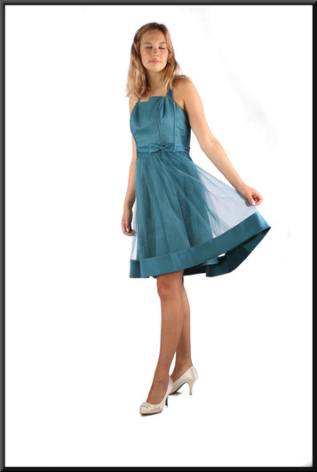 """Cocktail / party mini-dress satinette, and net over-skirt and darker hem band, emerald / teal, size 10, model height 5'10"""""""