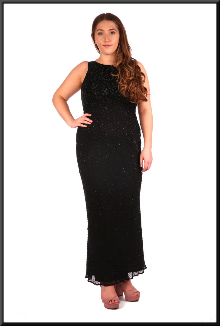 Sequinned twenties-style full length cocktail dress with v-neck back - black, size 14.  Model height 5'4""