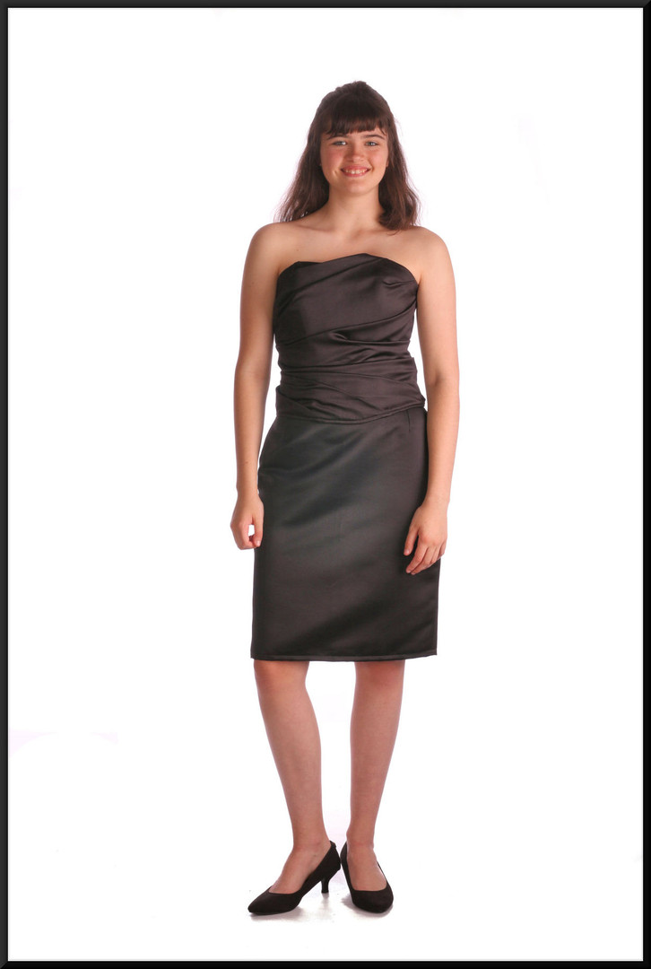 """Two piece bustier with lace-up rear tie and separate knee length skirt, black, size 14, model height 5'10"""""""