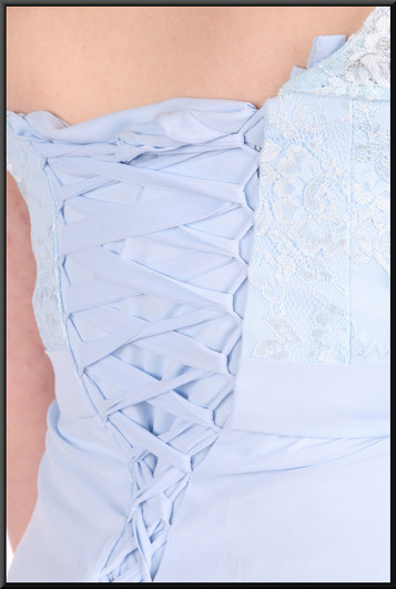 """Silk-effect full-length dress with lace effect detail on straps / upper bodice, size 12in very light blue. Model height 5'7"""""""
