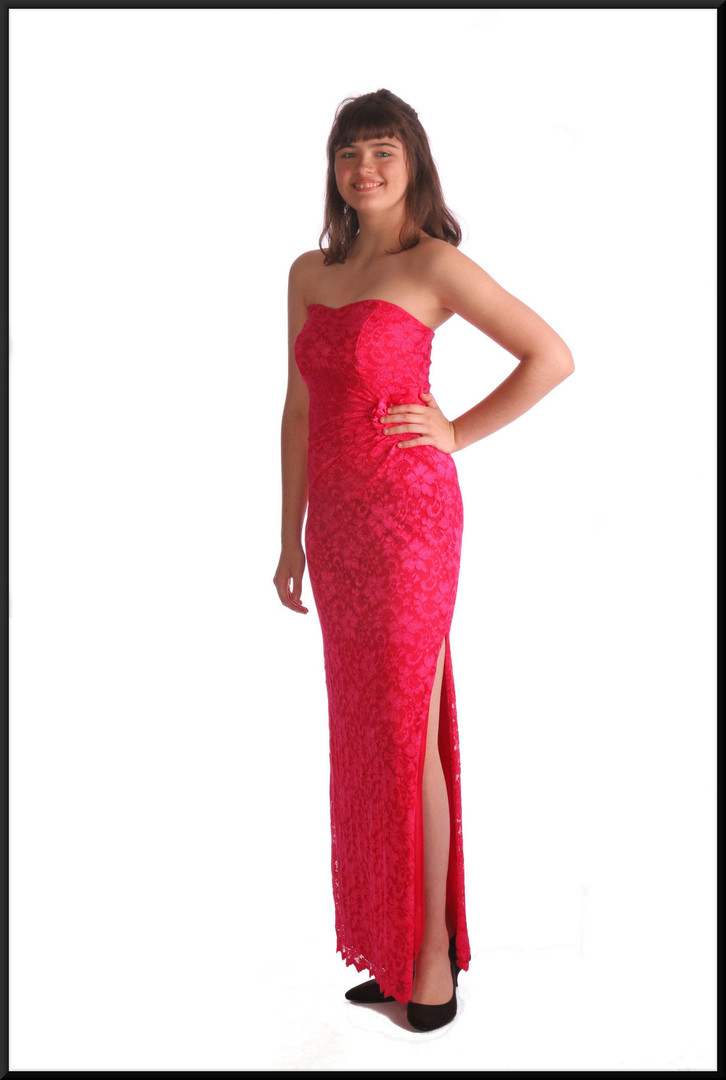 Ankle length lace effect over satinette strapless cocktail dress with split side, fuchsia, size 12, model height 5'10""