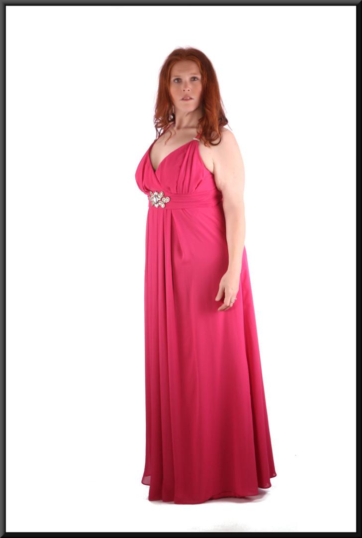 "Chiffon over satinette high waist evening dress c/w pleated front of skirt & diamanté trim, dark pink, size 14 / 16, model height 5'7"""