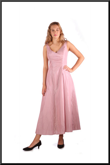 """Calf length satinette slimline ruched bodice with flared skirt, pink, size 8, model height 5'10"""""""